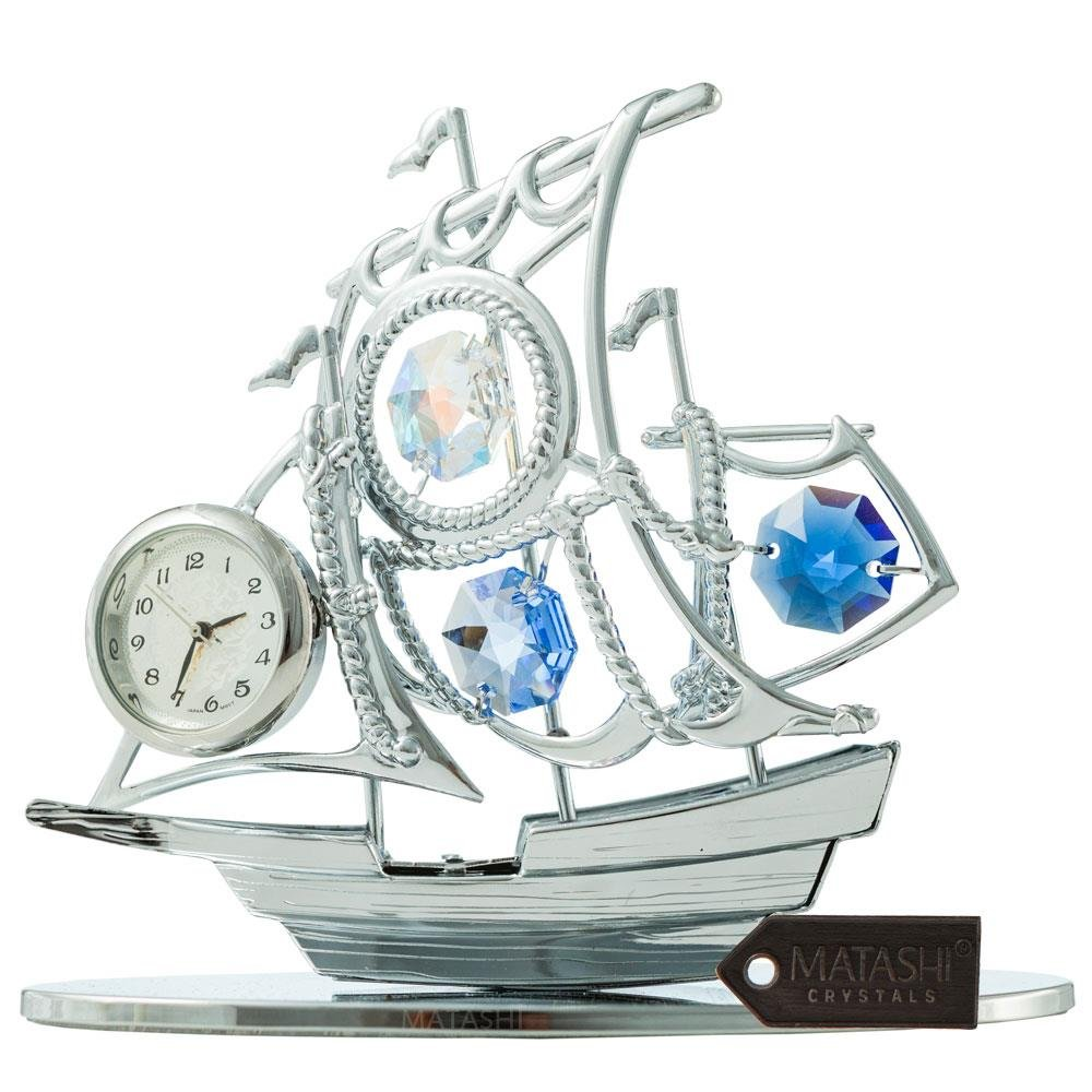Matashi MTCL13025 Chrome Plated Silver Sailboat Tabletop Ornament with Clock Blue Crystals | Timepiece Home Décor, Keepsake or Work Decoration | Precision Analog Time Keeping