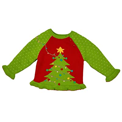 b2d022fe11e Hand Knit Girl s Christmas Tree Sweater