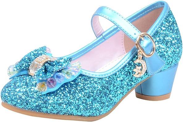 Bambina Ragazze Scarpe da Ballo Paillettes Bling Ballo Scarpe con Tacco Anti Scivolo Eleganti Scarpe da Principessa Sala da Ballo Serie 2 Chic