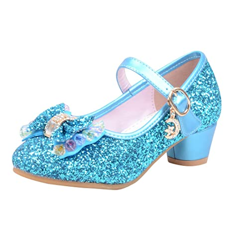 ee263681a2015e Sparkle Princess Shoes for Girls Sequin Bowknot Low Chunky Heel Shoes Bling  Bling Buckle Shoes Mary