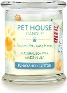 product image for One Fur All 100% Natural Soy Wax Candle, 20 Fragrances - Pet Odor Eliminator, Appx 60 Hrs Burn Time, Non-Toxic, Eco-Friendly Reusable Glass Jar Scented Candles – Pet House Candle, Sunwashed Cotton