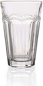 Omita Eiriks Collection Drinking Glass 13 oz Set of 6, Pearl Ridge Crystal Clear Tumbler Highball Daily Life for Beverage Water Juice Milk Beer Coke Iced-tea