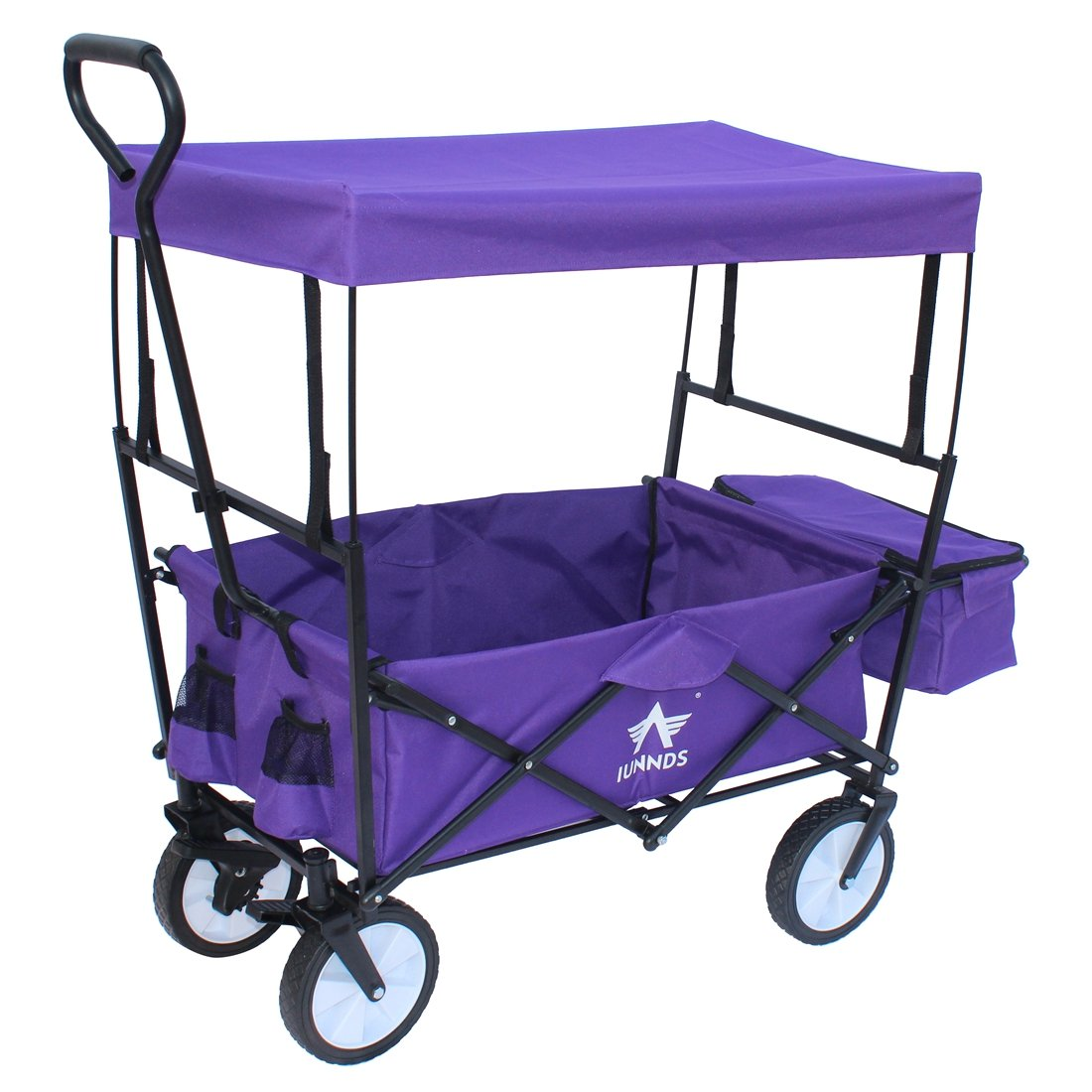 Sports God Folding Wagon Collapsible Utility Graden Cart with Removable Canopy + Storage Basket + FREE Cooler (Purple) by Sports God (Image #2)