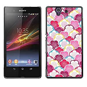 MOBMART Carcasa Funda Case Cover Armor Shell PARA Sony Xperia Z L36H - White And Red Colored Flowers