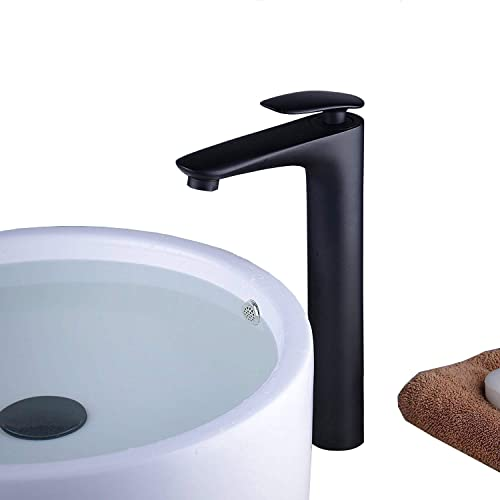 Bathroom Vessel Sink Faucet Abovecounter Faucet Tall Body, Single Handle Single One, Brass, Painting Black, Beelee BL6771BH