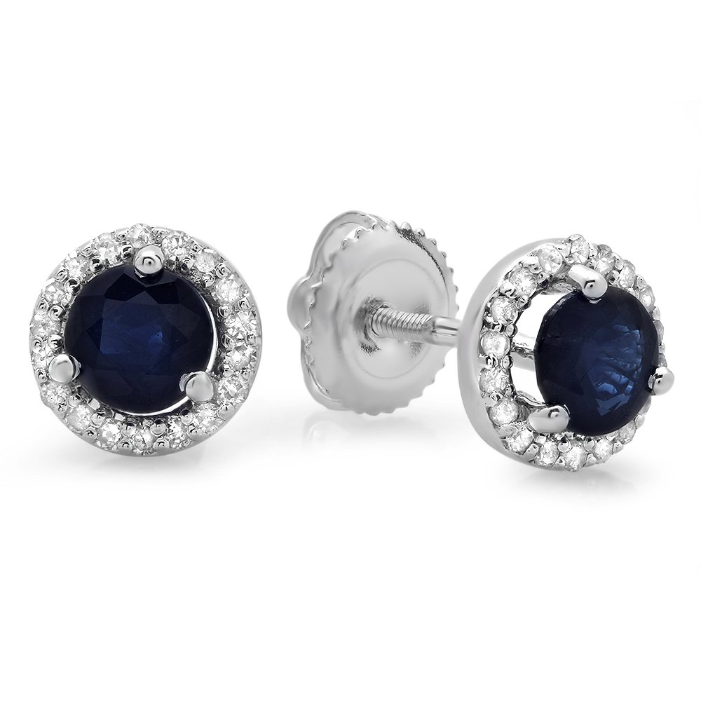 14K White Gold Round Blue Sapphire & White Diamond Ladies Halo Style Stud Earrings 1 CT