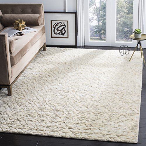 (Safavieh Manhattan Collection MAN911A Hand Woven Ivory Wool Area Rug (4' x 6'))