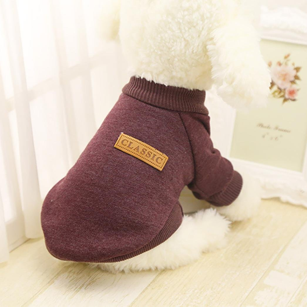 S, Gray Iuhan Fashion Pet Dog Puppy Classic Sweater Fleece Sweater Clothes Warm Sweater Winter