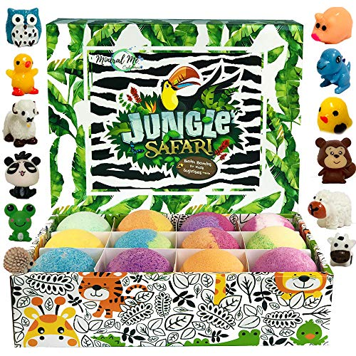 Bath Bombs for Kids with surprise inside - Set of 12 Organic Bubble Bath Fizzies with Jungle Animal toys. Gentle and kids safe Spa Bath Fizz Balls Kit. Birthday or Christmas gift for girls and boys (Bulk Bath Bombs)