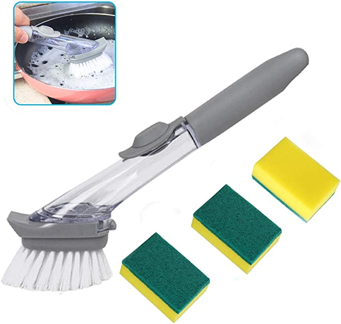 Heavy Duty Dish Wand Sponge For Kitchen Sink Cleaning Brush 2 Dishwands and 6 Refill Replacement Heads Scotch-Brite