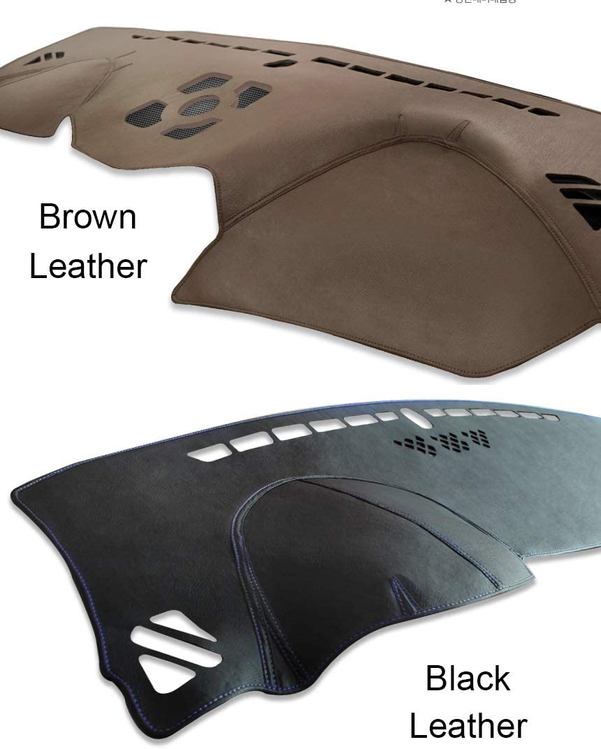 LIGHTKOREA Custom Made Leather Interior Dashboard Carpet Dash Cover Mat Compatible with Hyundai Kona Kona EV 2017 2018 2019 2020 Black Leather