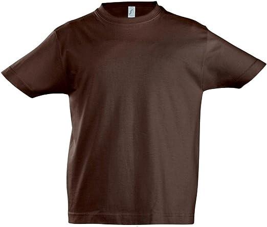 SOLS - Camiseta de manga corta - para niño Marrón chocolate 4 años: Amazon.es: Ropa y accesorios