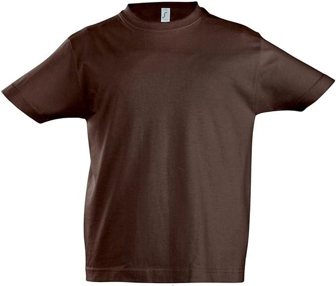 SOLS - Camiseta de Manga Corta - para niño Marrón Chocolate 12 ...