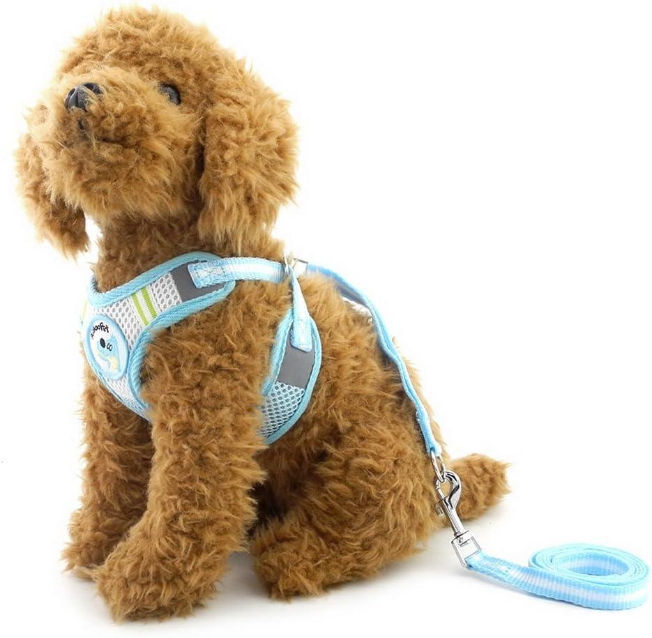 Arnés de malla para perros pequeños de SELMAI, juego con correa ajustable para perros y gatos con chaleco acolchado