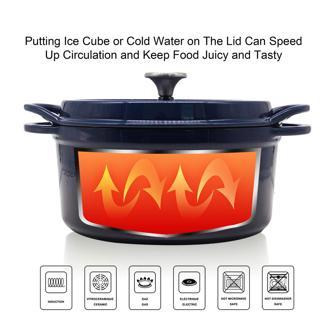 Cast Iron Dutch Oven Enameled Cooking Pot Nonstick Ceramic Cookware 4.5 Quart Navy T H Danc