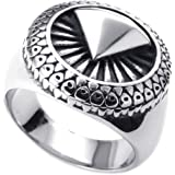 Konov Jewellery Mens Stainless Steel Ring, Classic Gothic, Color Silver (with Gift Bag)