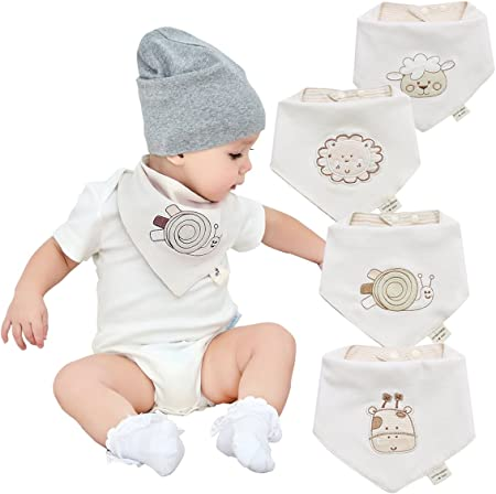 Natural Colored Cotton Absorbent Unisex Baby Bandana Drool Bibs,THE SOFTEST AND MOST COMFORTABLE BAN
