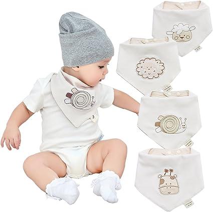 Bandanas bebe baberos para niños y niñas de 4 pack-100% algodón ...