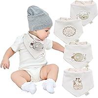 Neutrale organico bambino bavaglini bandana neonato per ragazzi e ragazze 4 pezzi di cotone al 100% bambino dentizione bavaglini  per neonati, lattanti e baby