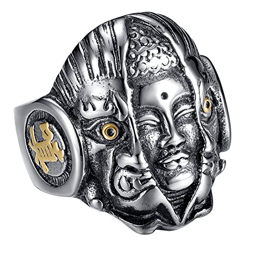 Chinese Character Ring - PAURO Men's Stainless Steel Vintage Buddha and Devil Supernatural Ring Engraved Chinese Character Size 7