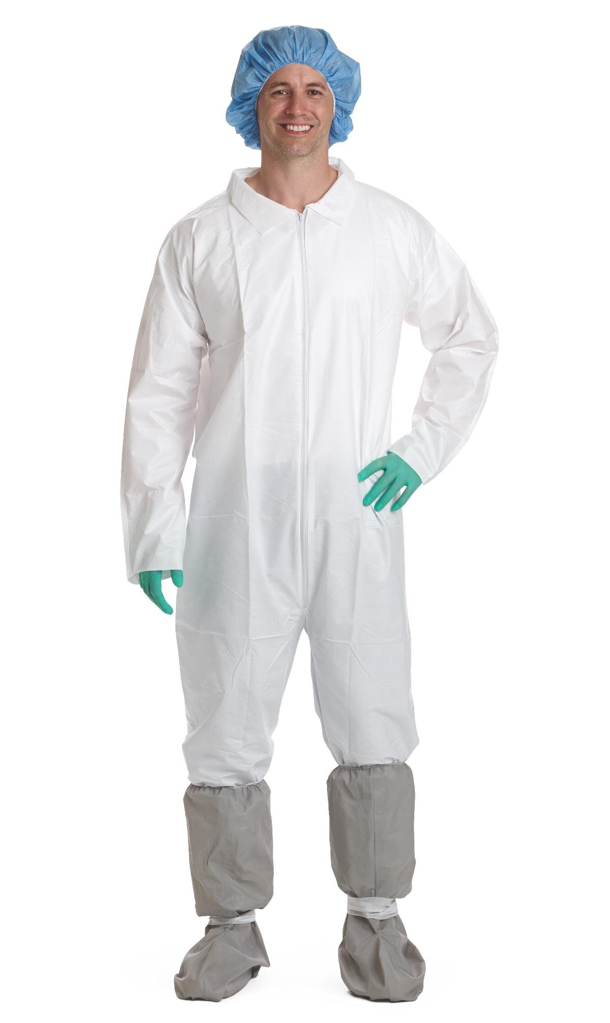 Medline NONCV920L Static-Dissipative Microporous Breathable Coveralls, Latex Free, Large, White (Pack of 25)