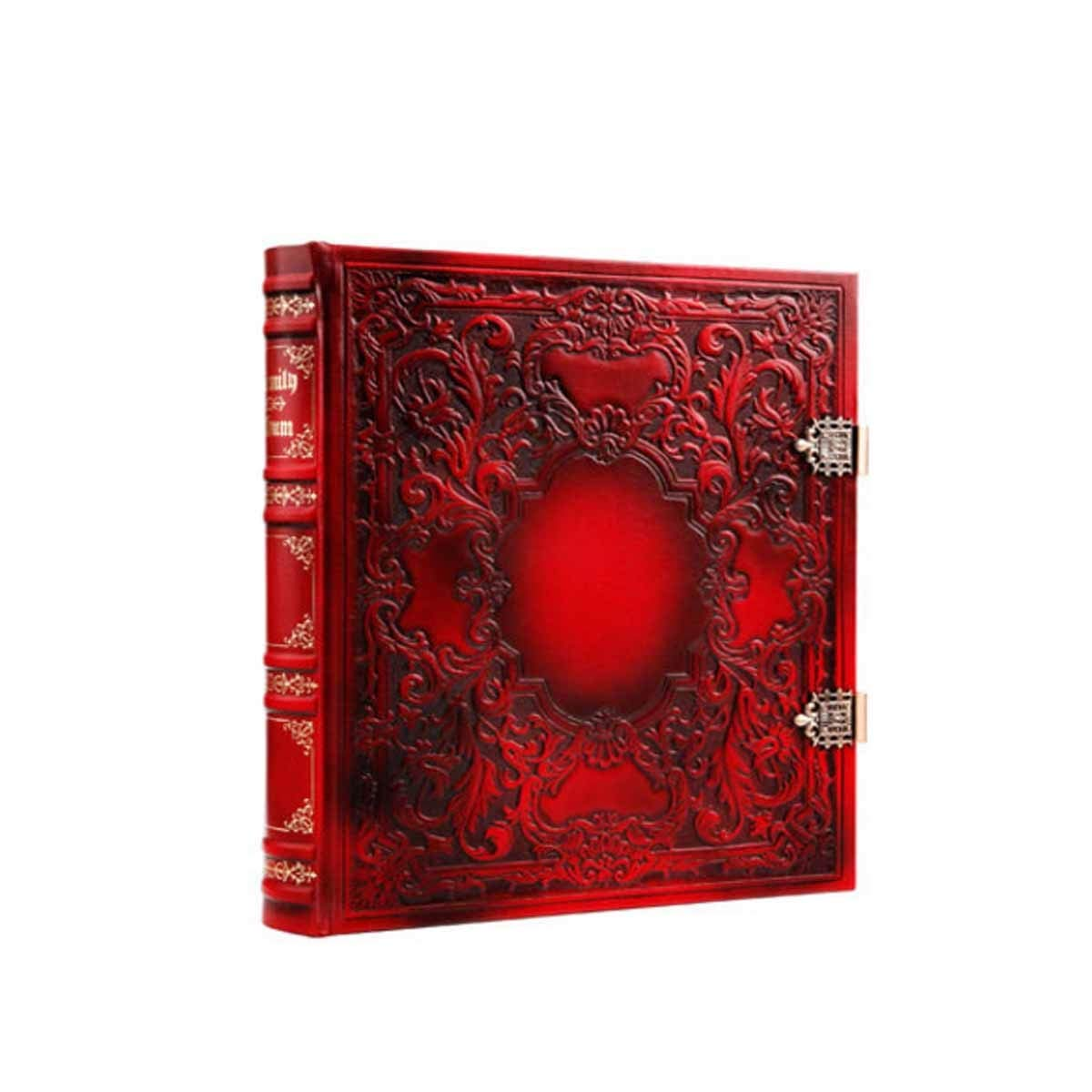 Jiansheng01 Album, Leather Retro Traditional Photo Album, Large Capacity Can Save Longer Paste, Retro Brown, Retro Red Noble Design (Color : Red) by Jiansheng01