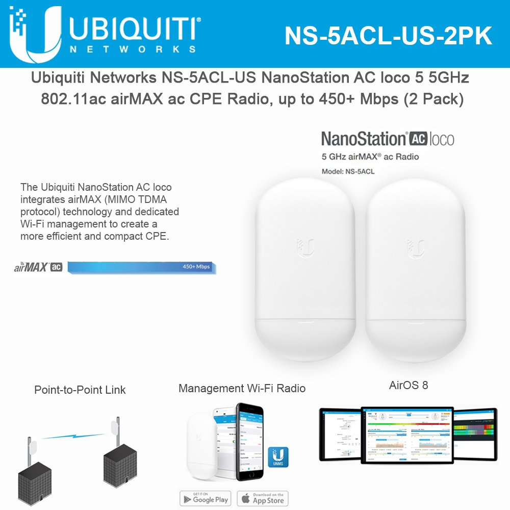 NanoStation AC loco 5 NS-5ACL-US 5GHz 802.11ac Airmax ac CPE Radio, up to 450+ Mbps (2 Pack) ... by UBNT Systems