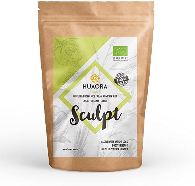 Huaora - Sculpt, Cacao Chocolate, Proteína Vegana Ecológica en Polvo, 250gr | Proteínas Vegetales Orgánicas y Superfoods | 100% Natural y Orgánico - ...