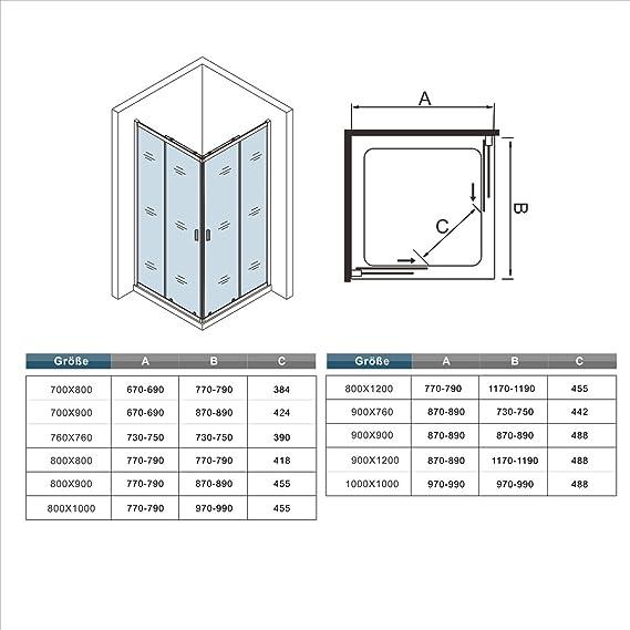 Cabina de ducha mampara de ducha corredera puerta 6mm Easyclean cristal Aica 90x70cm: Amazon.es: Bricolaje y herramientas