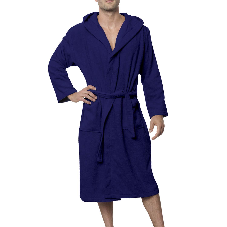 Peignoir de Bain 100% Coton avec Capuche pour Homme - Taille XS S M L XL -  Certifié Oeko TEX - Robe de Chambre 2 Poches, Ceinture et Boucle d Accroche  ... f4f15f03b9c