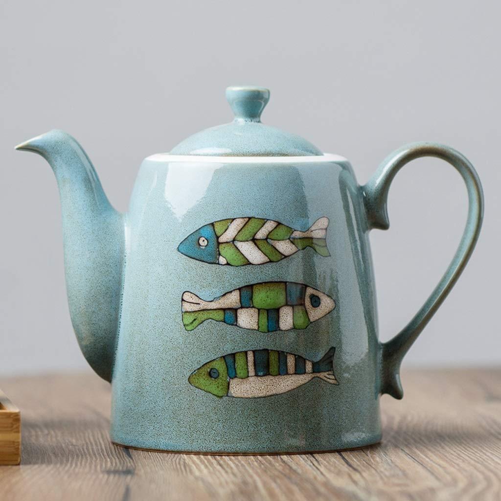 KTYXGKL 大容量マルチカラー魚の陶器のティーポットの冷たい水の瓶の蓋の家庭茶の茶10x14.5cm 電気湯沸かし器 (色 : 青)  青 B07LGNQHJN