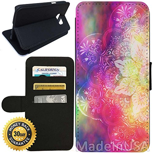 Flip Wallet Case for Galaxy S7 (Unlimited Mandala Acid Hippie) with Adjustable Stand and 3 Card Holders | Shock Protection | Lightweight | Includes Stylus Pen by Innosub