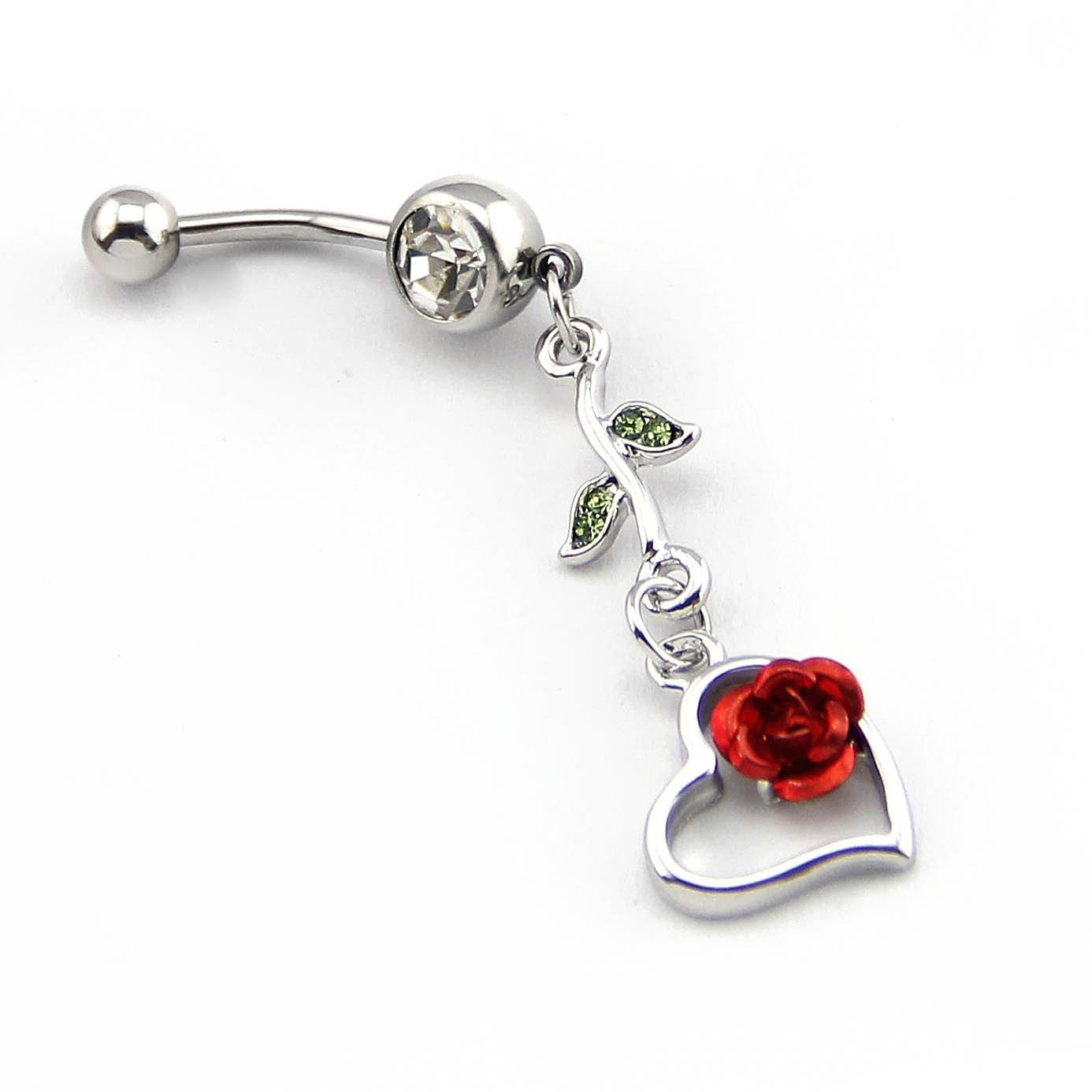 BODYA 316l Surgical Steel 14g Crystal Red Rose with Leaf Heart Navel Ring Belly Bar Button+retainer JW736