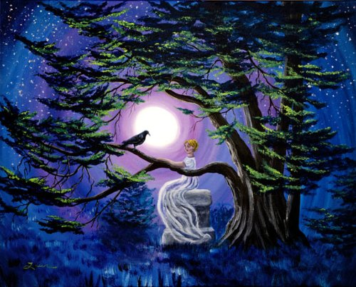 Ghost of Lenore and Raven By a Cypress Tree Iverson Original Painting on Canvas by Laura Milnor Iverson
