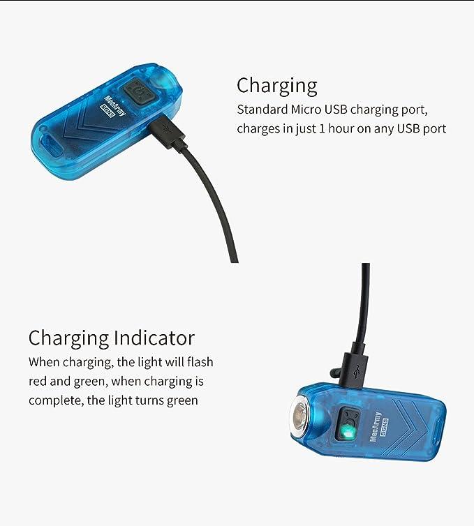MecArmy - Actualización 2017 - Lámpara personal de bolsillo para ataque de 560 lúmenes, con recarga mediante USB y llavero, 3.70 voltsV: Amazon.es: ...