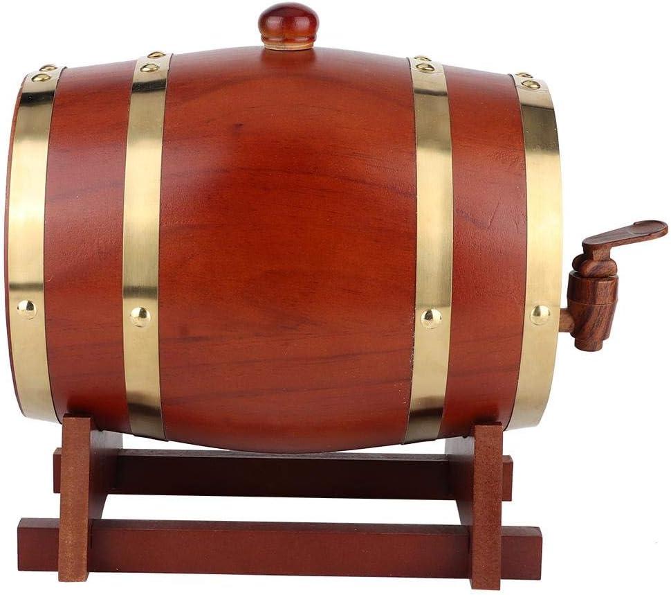 Barril de cerveza, barril de cerveza de madera de pino vintage de 3L Accesorios de elaboración de barriles de vino Equipo de elaboración casera, ampliamente utilizado en cerveza, vino tinto(marrón)