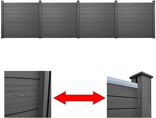 4 Paneles de valla de WPC para jardín, Gris, 774 cm: Amazon.es: Bricolaje y herramientas