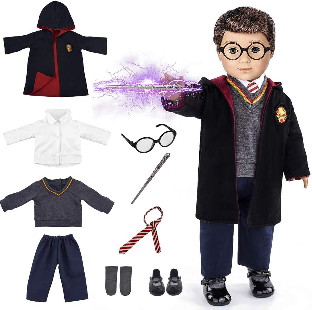 2 Sets Magic School Uniform Inspired Doll Clothes for American Girl Dolls and 18 Dolls 16pc Includes Shirt, Skirt, Pants, Sweater, Tie, Socks, Robe,Imitate Book, Magic wind and Shoes Glasses