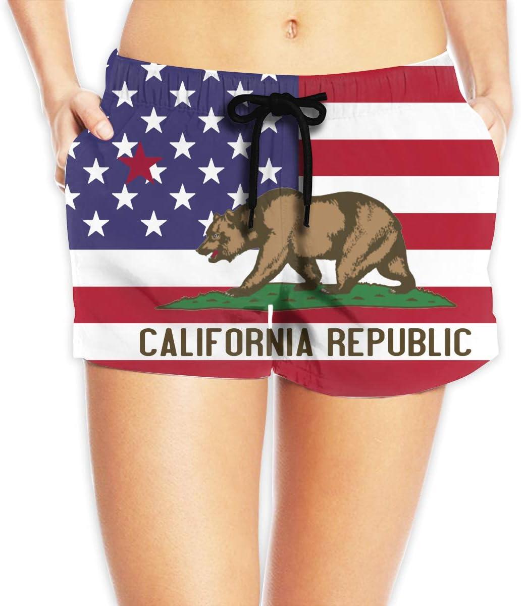 California Flag Women Summer Fashion Beach Board Shorts Quick Dry Yoga Running Swim Trunks with Side Pocket