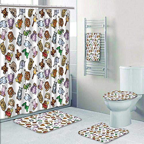 Philip-home 5 Piece Banded Shower Curtain Set Seamless of Cute Baby Animals Pattern Printing Suit by Philip-home