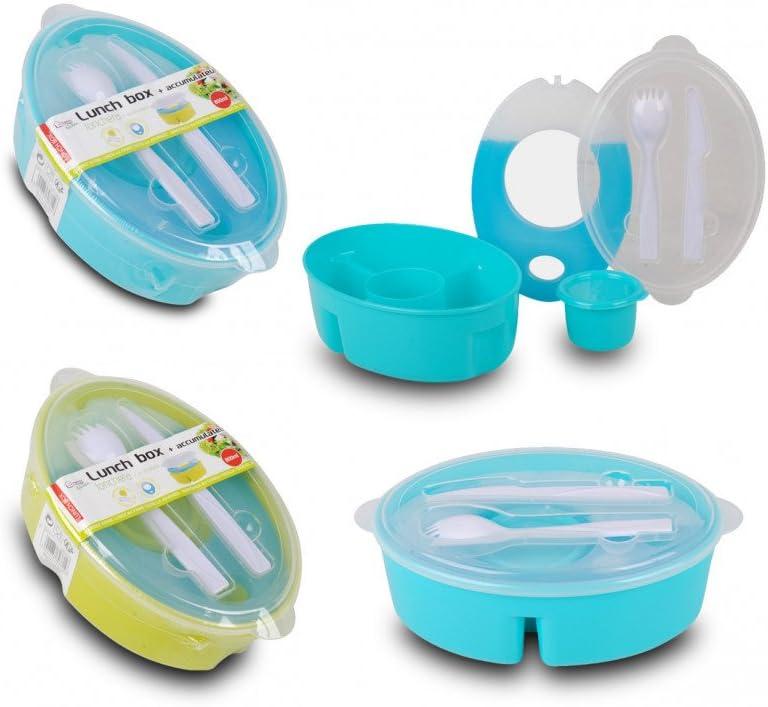 T/úper Fiambrera Porta Alimentos con Compartimentos Azul Recipiente para ali/ño y Cubiertos Hogar y m/ás
