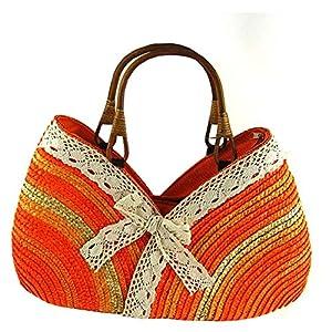 Top Shop Bowknot Rainbow Handmade Crochet Straw Woven Shoulder Handbags Tote Beach Bag Orange Satchels