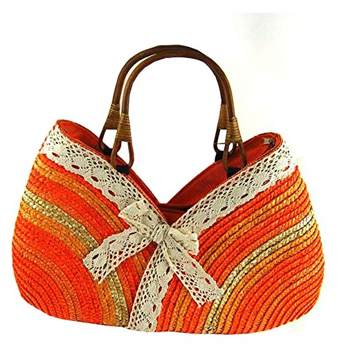 Top Shop Bowknot Rainbow Handmade Crochet Straw Woven Shoulder Handbags Tote Beach Bag Orange Satchels