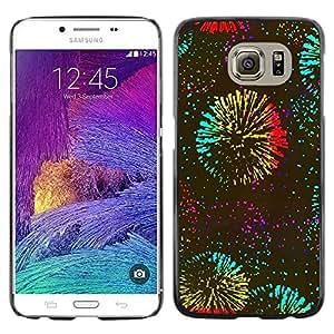 rígido protector delgado Shell Prima Delgada Casa Carcasa Funda Case Bandera Cover Armor para Samsung Galaxy S6 SM-G920 /Years Fireworks Kate Celebration/ STRONG