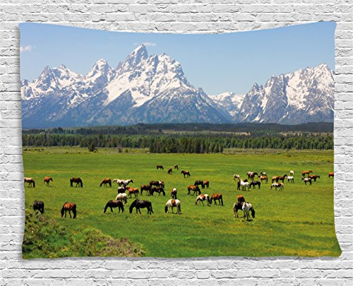 Ambesonne Horse Decor Tapestry by, Grand Teton National Park Snowy Mountains Fresh Greenery Trees Animals, Wall Hanging for Bedroom Living Room Dorm, 80 W X 60 L Inches, Green Light Blue - Mountains Grand Teton National Park