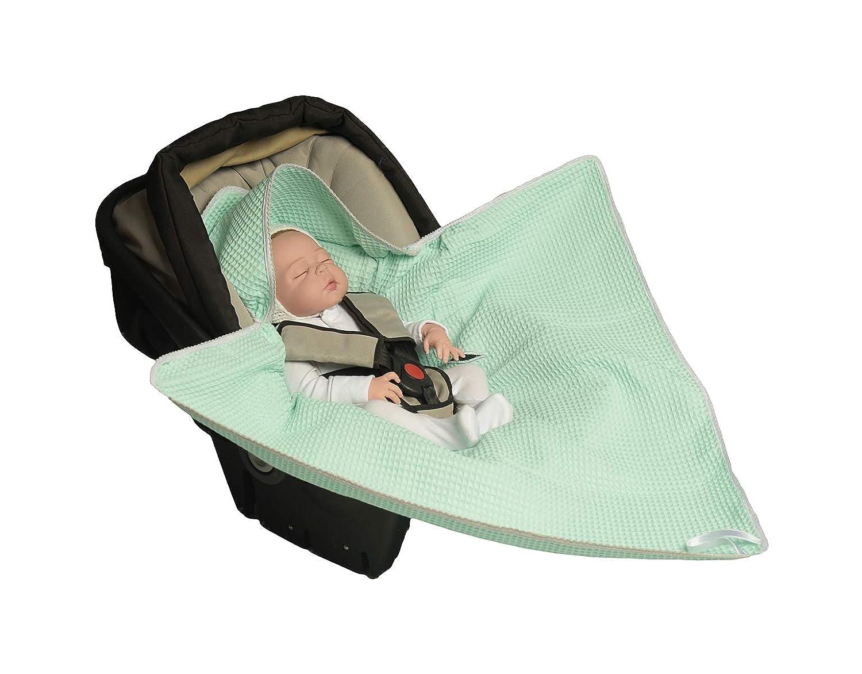 Autositz f/ür Kinderwagen MoMika Einschlagdecke Buggy oder Babybett White aus Waffelpique Universal f/ür Babyschale