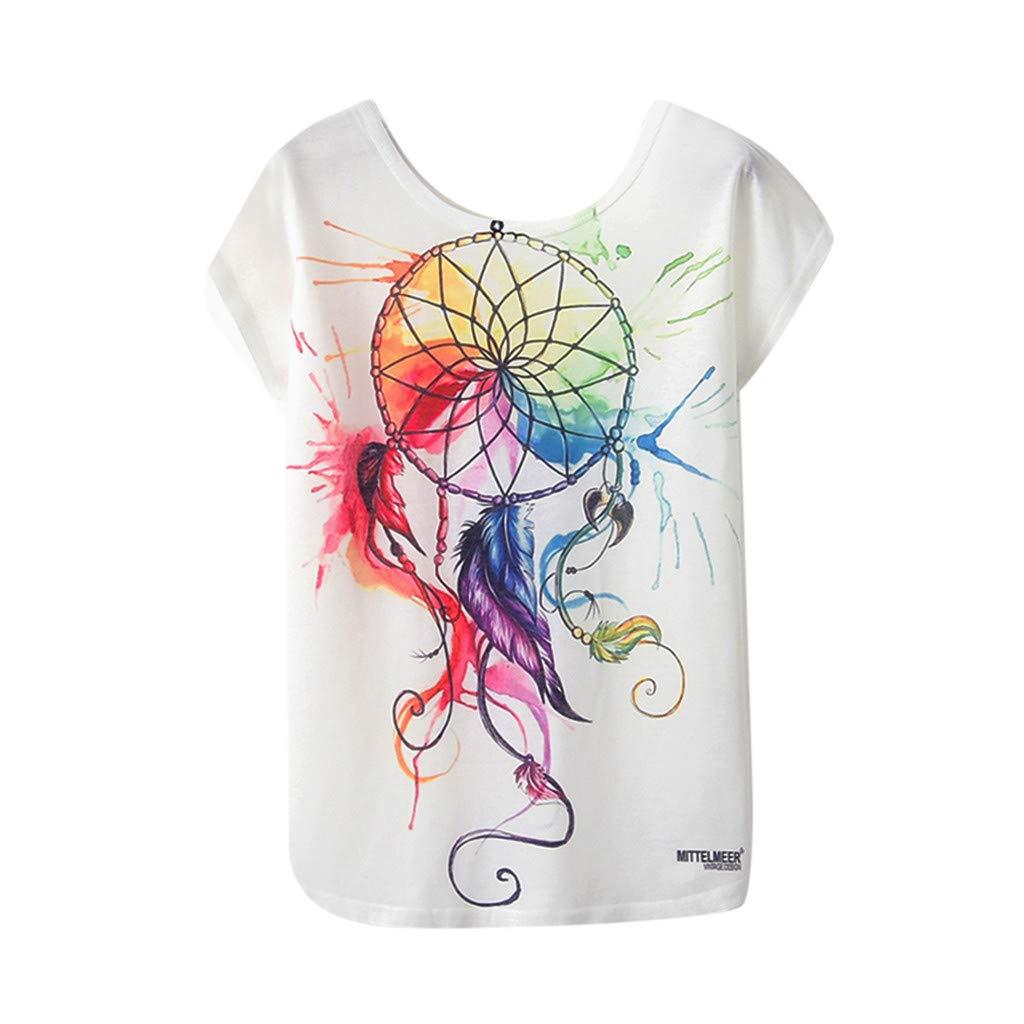 Huazi2 Womens Summer Geometric Animal Print Short Sleeve Loose T-Shirt Blouse