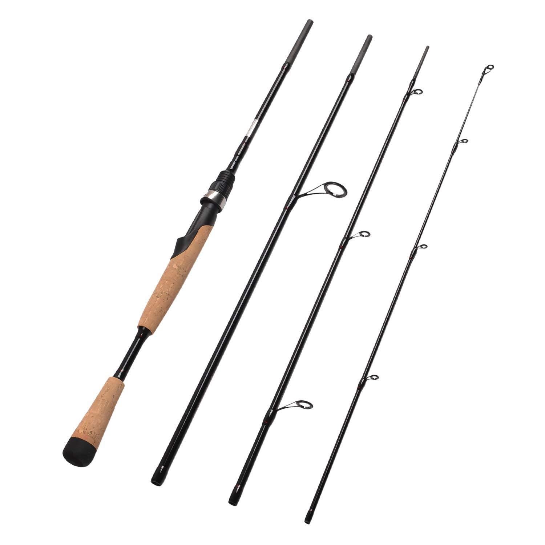 Fiblink 4 Pieces Travel Spinning Rod Medium Carbon Spinning Fishing Rod Portable Fishing Rod (7'6'' Medium)