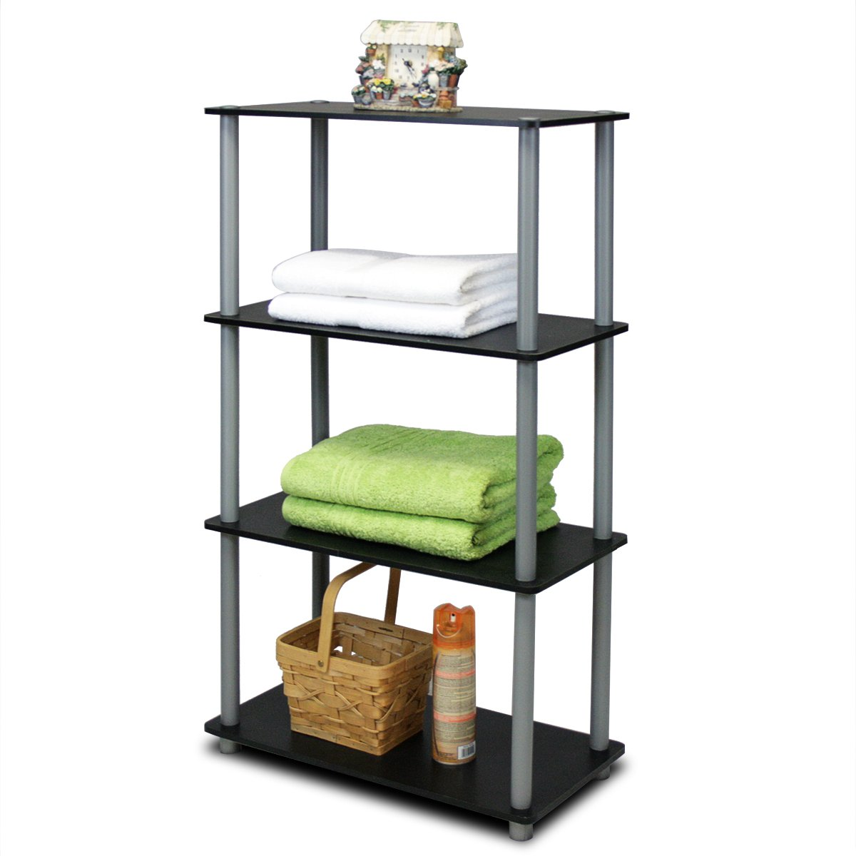 $29.58 (was $69.99) Furinno 99557BK/GY Turn-N-Tube 4-Tier Multipurpose Shelf Display Rack, Black/Grey