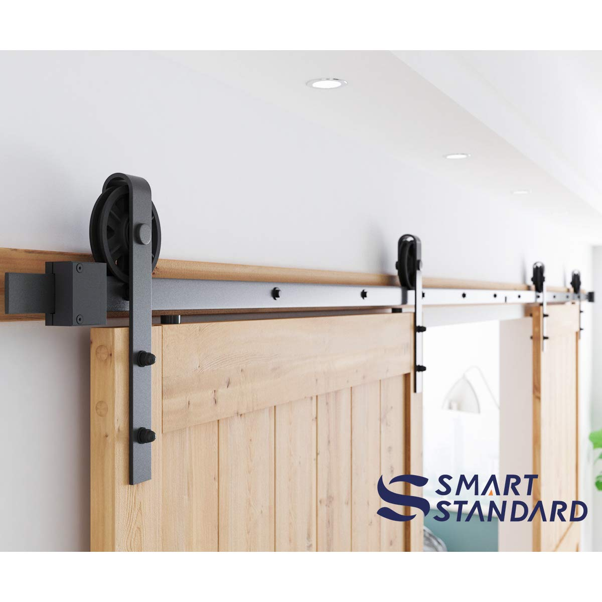 16ft Double Door Sliding Barn Door Hardware Kit - Smoothly and Quietly - Easy to Install - Includes Step-by-Step Installation Instruction -Fit 42''-48'' Wide Door Panel(Big Industrial Wheel Hanger) by SMARTSTANDARD (Image #3)